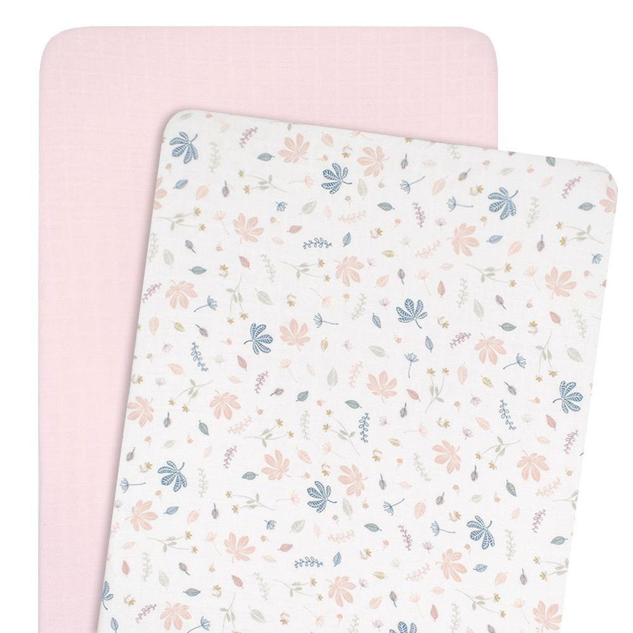 Living Textiles Organic Cotton Muslin Co-Sleeper Fitted Sheets 2pk at Baby Barn Discounts Created from 2-layers of soft and silky 100% organic cotton muslin they are perfect all year round.