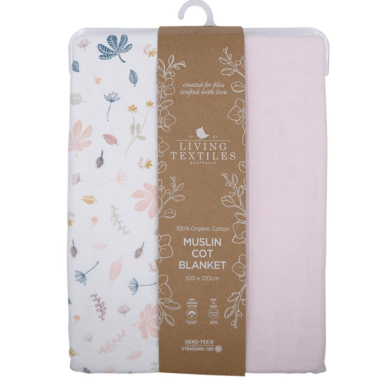 Living Textiles Organic Cotton Muslin Cot Blanket at Baby Barn Discounts Living Textile's muslin blanket crafted from 6 layers of soft and silky 100% organic cotton muslin.