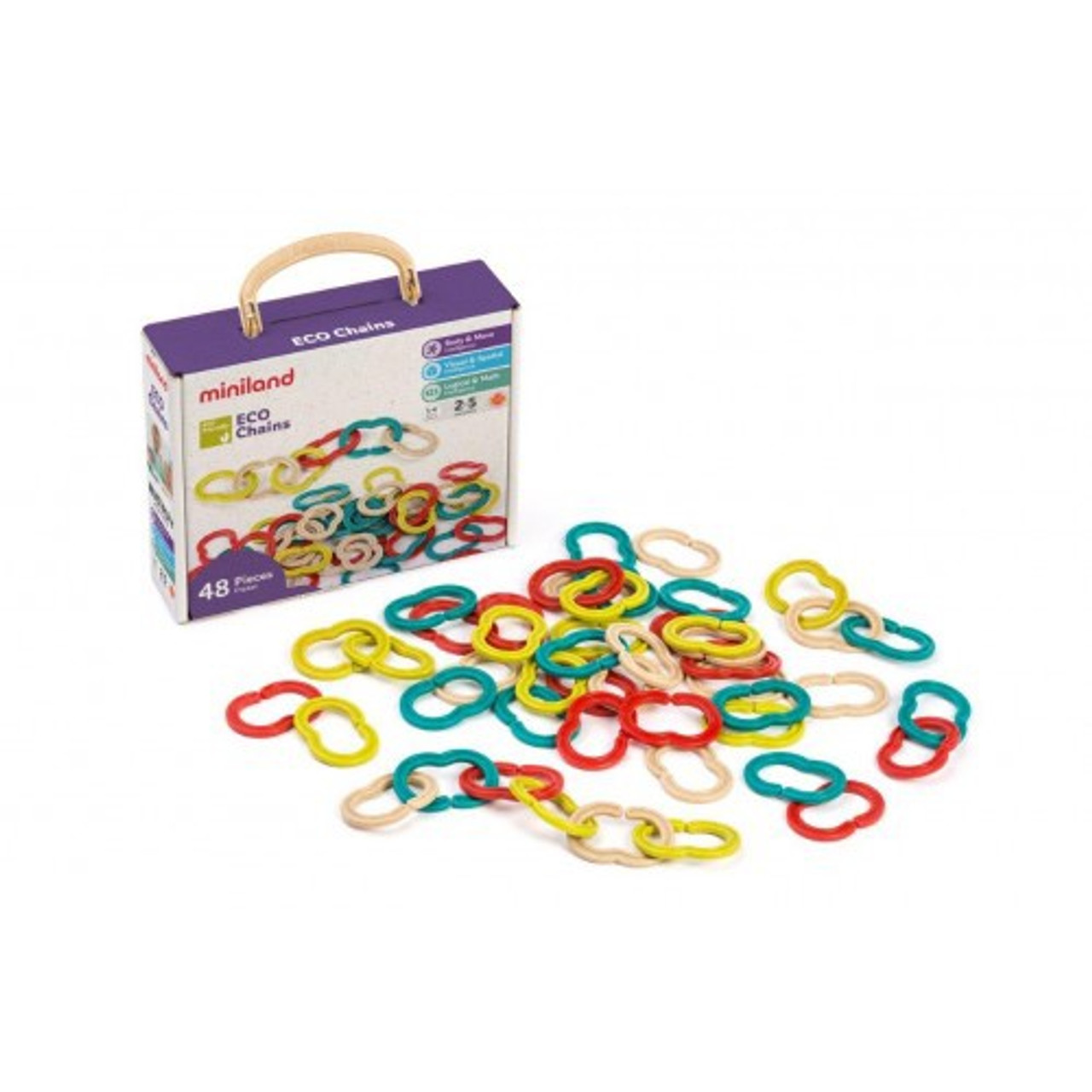 Miniland Aptitude Eco Activity Eco Chains 48pcs at Baby Barn Discounts Miniland aptitude eco activity eco chain set of coloured links allows chains to be created.