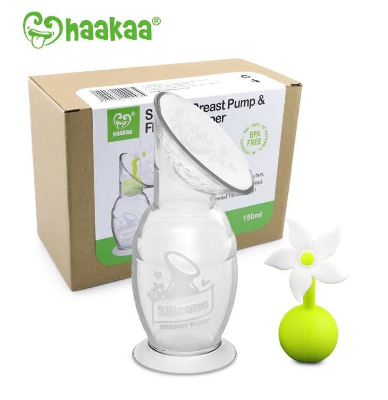 Haakaa Silicone Breast Pump & White Flower Stopper 150ml at Baby Barn Discounts This set includes the famous Haakaa Breast Pump and White silicone flower stopper in a gift box.