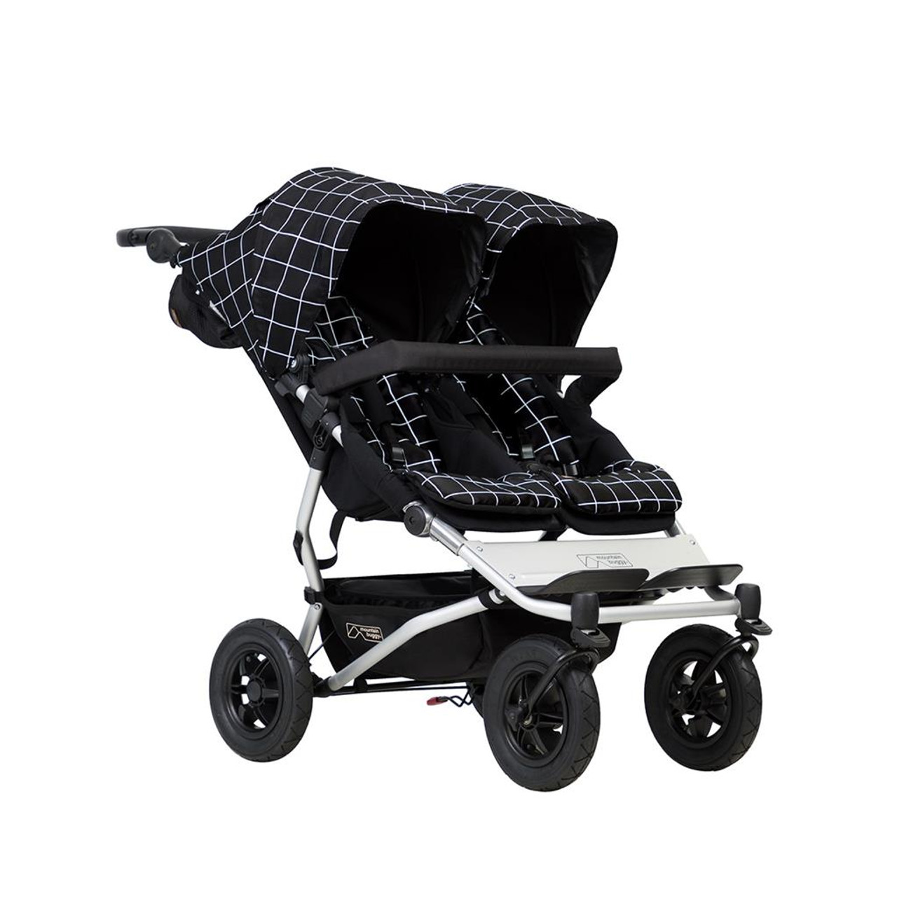 Mountain Buggy Duet V3.2 GRID at Baby Barn Discounts Mountain Buggy Duet 2020 version double pram with polyester fabric.