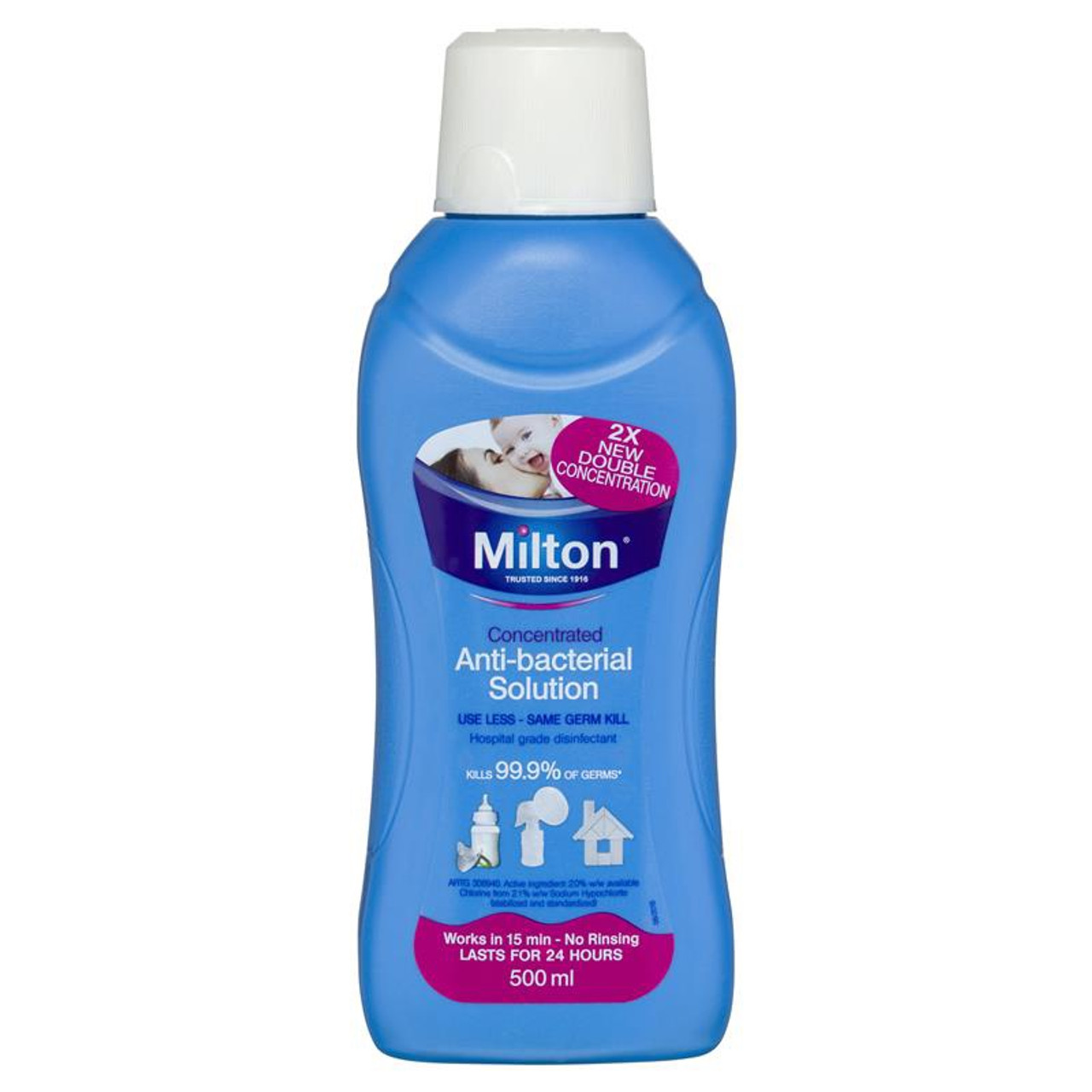 Milton Concentrated Anti-Bacterial Solution 500ml at Baby Barn Discounts Milton Concentrated Anti-Bacterial Solution is a hospital-grade disinfectant that kills 99.9% of germs.