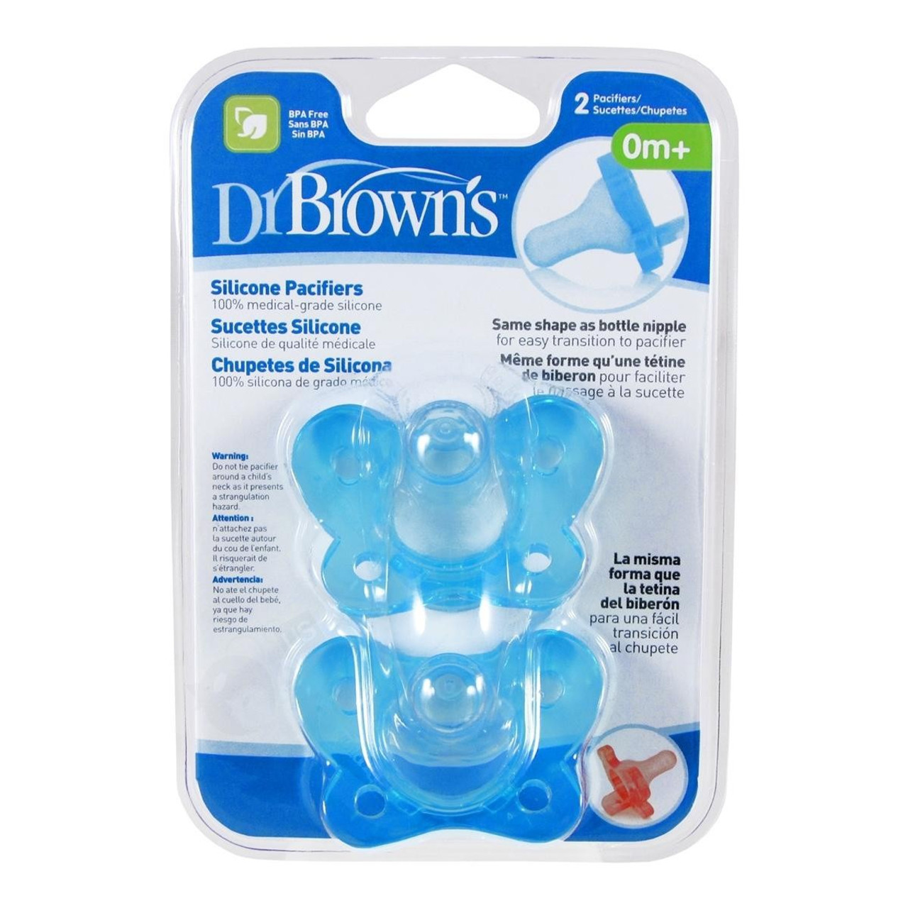 Dr Brown's Silicone Pacifier 0m+ 2pk at Baby Barn Discounts Dr. Brown's one piece pacifier helps calm and soothe babies 0-6 months.
