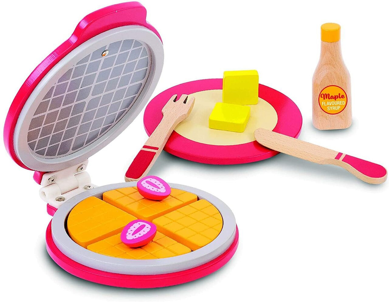 Bubbadoo Wooden Toy Waffle Maker at Baby Barn Discounts Bubbadoo Wooden Toy Waffle Maker featuring four pieces of waffle, butter, strawberries, cutlery, pretend maple syrup and a plate.