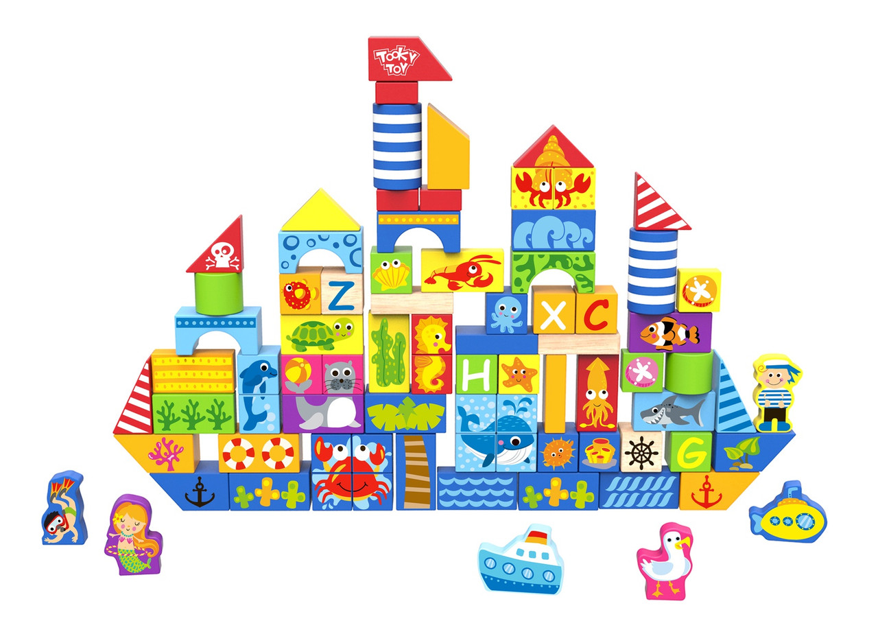 Tooky Toy Marine Building Blocks 80pcs | Baby Barn Discounts Tooky toy marine block is an 80 piece block set in the theme of sea creatures.