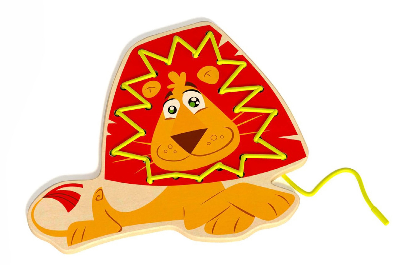 Tooky Toy Wooden Lacing Animal Lion| Baby Barn Discounts