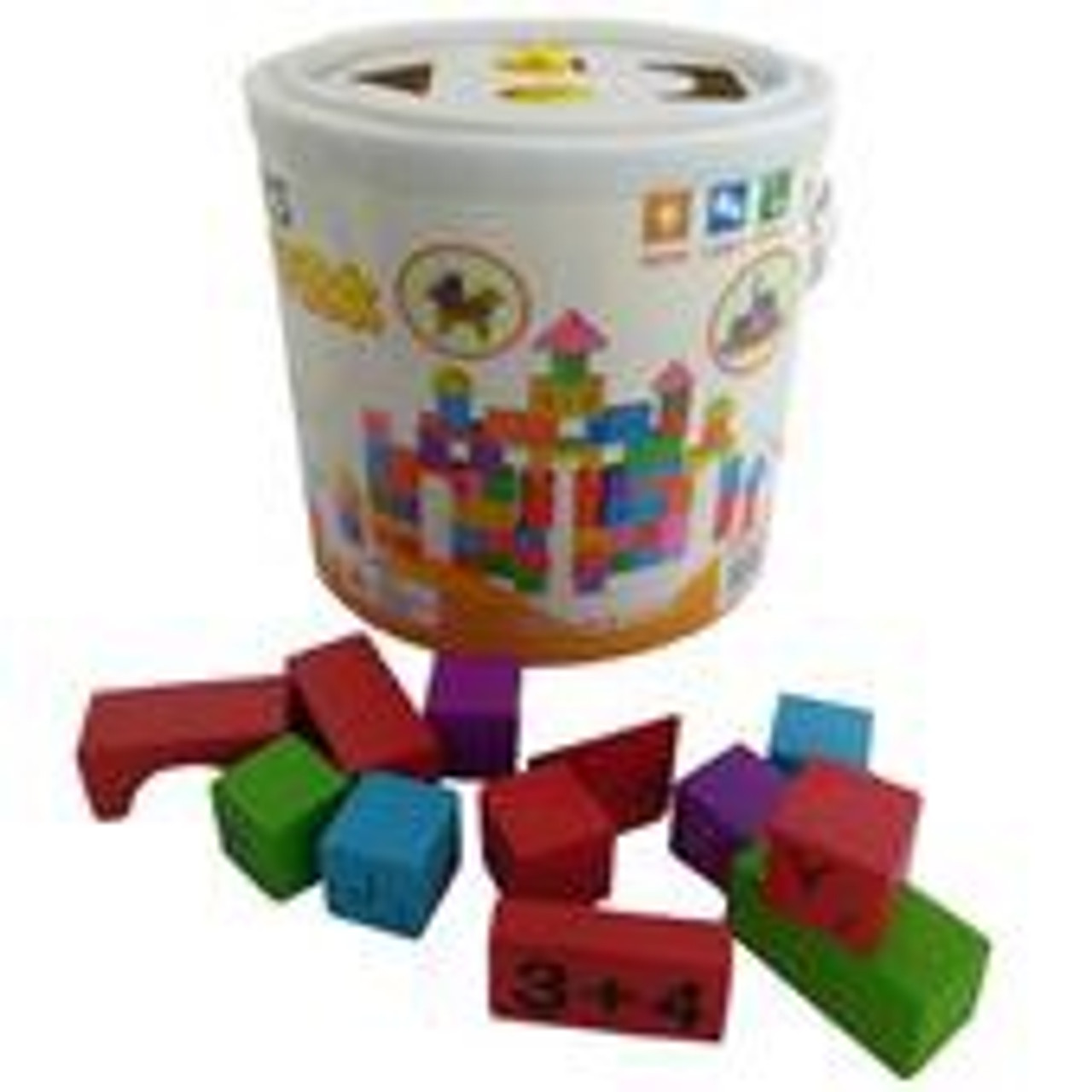Lucky Tree Digital Building Blocks 100pcs at Baby Barn Discounts One hundred colourful building blocks in their own storage tub. This set has a variety of shapes, printed with numbers, symbols and letters.