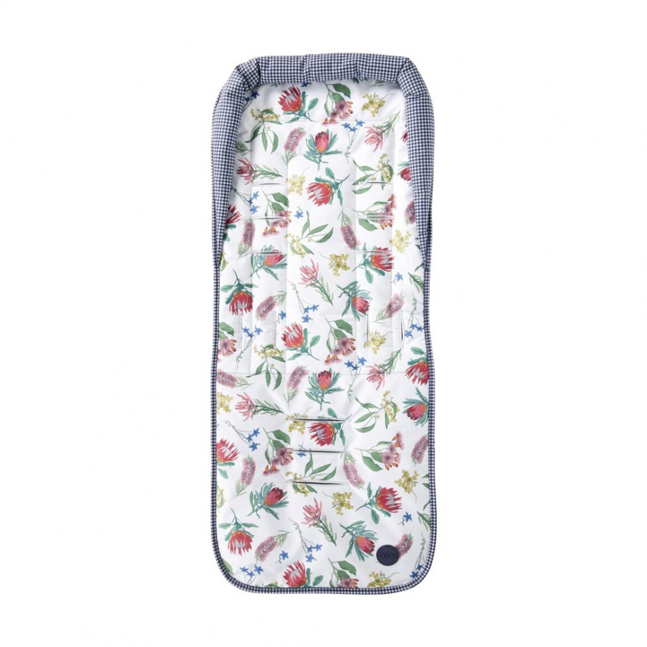 OiOi Reversible Botanical Seat Liner - Navy/ White Gingham at Baby Barn Discounts Oioi reversible pram liner that features Australian botanical prints.
