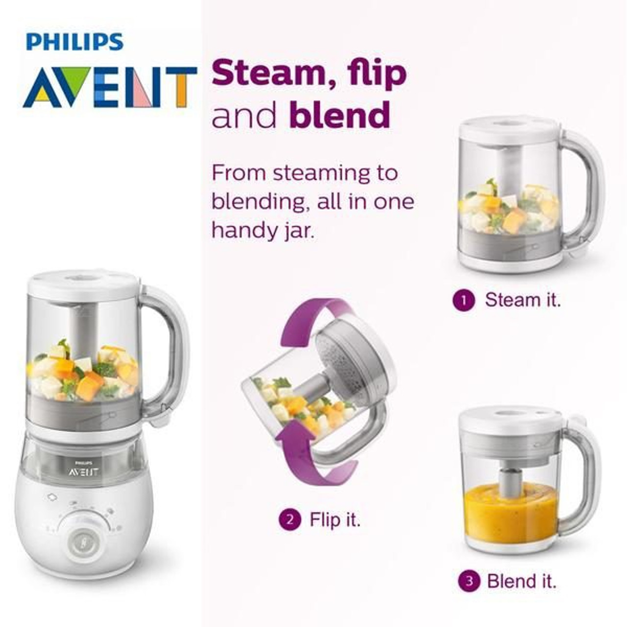 Avent 4 in 1 Healthy Baby Food Maker at Baby Barn Discounts The Avent 4 in 1 healthy baby food maker makes effortless nutritious baby meals.