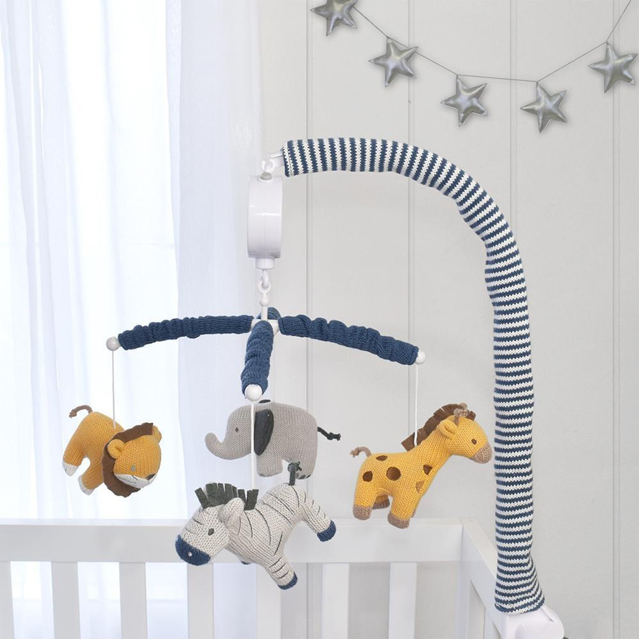 Lolli Living Battery Operated Musical Mobile Urban Safari at Baby Barn Discounts Battery operated musical cot mobile in the Lolli Living Urban safari.
