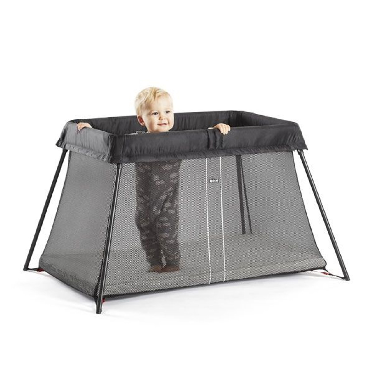 Baby Bjorn Travel Cot Light - Black Mesh at Baby Barn Discounts Baby Bjorn lightweight travel cot that is simple to set up and fold up, easy to take with you, soft and comfy mattress, removable and washable cot textiles.