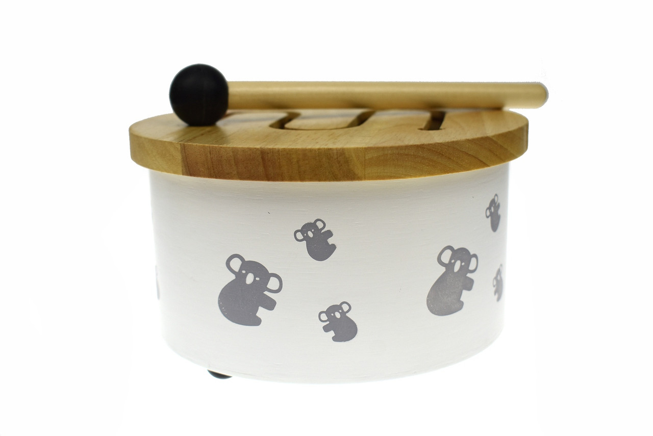 Koala Dream Classic Calm Wooden Drum at Baby Barn Discounts gorgeous Koala Dream wooden drum is made from natural wood and covered with drawings of our cute koalas