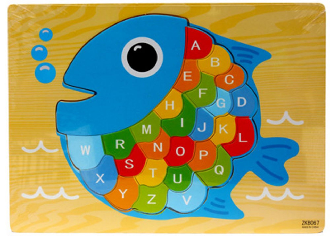 Lucky Tree- Wooden Puzzle- Fish at Baby Barn Discounts A beautiful rainbow alphabet puzzle by Lucky Tree. This puzzle depicts a fish with rainbow scales, each of the scales is printed with its own lowercase letter. Perfect for letter recognition.