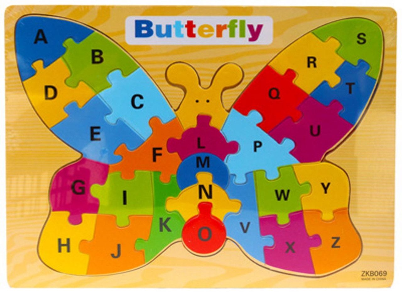 Lucky Tree- Wooden Puzzle- Butterfly at Baby Barn Discounts A beautiful high-quality wooden puzzle by Lucky Tree. With bright colours and the alphabet in uppercase this puzzle is a great addition to any toybox.