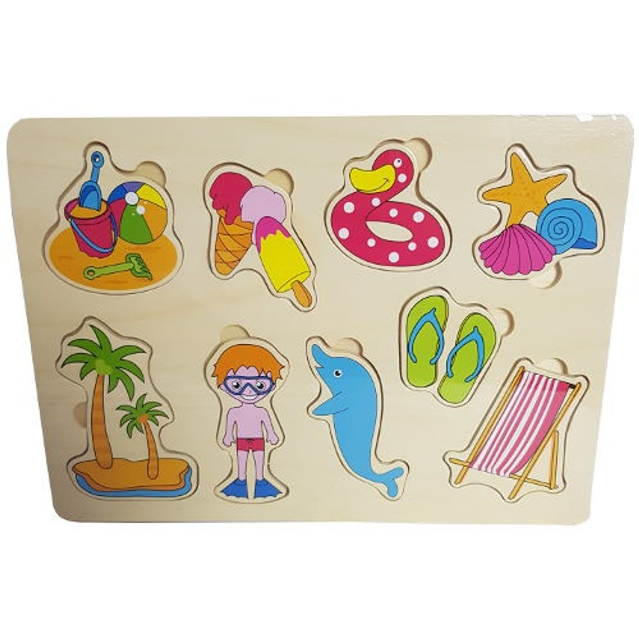Lucky Tree- Wooden Puzzle- Beach at Baby Barn Discounts  A bright and fun puzzle from Lucky Tree. Depicting everything you need for a perfect day at the beach.