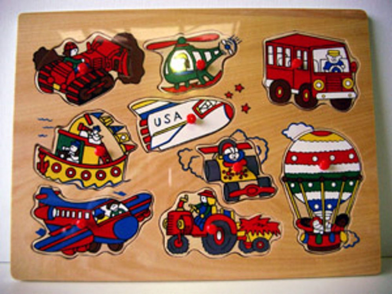 Lucky Tree- Wooden Puzzle- Transportation with knobs at Baby Barn Discounts A  wooden puzzle depicting all kinds of fun transportation. The large wooden knobs make it easy to manoeuvre for little fingers.