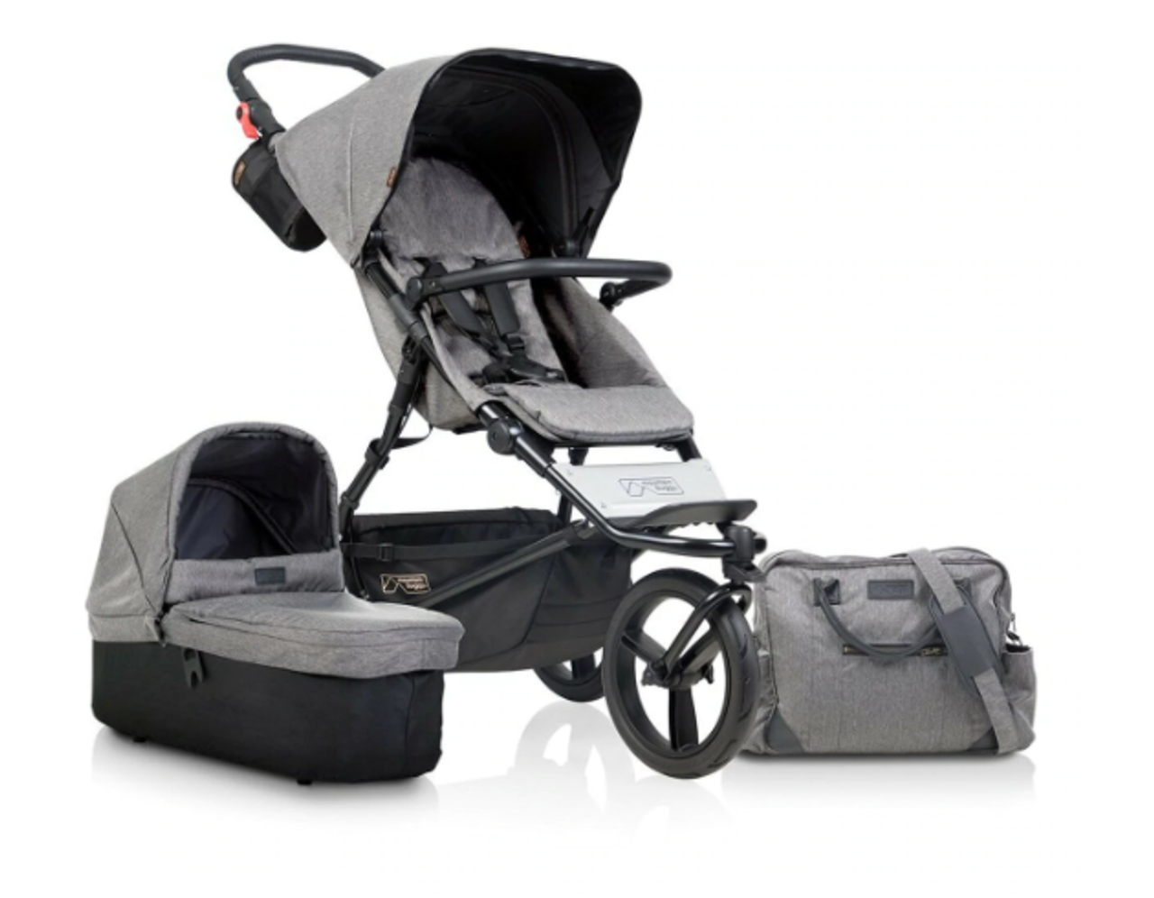 Mountain Buggy Luxury Collection Urban Jungle Herringbone Package Deal | Baby Barn Discounts Mountain Buggy pram package deal now with carrycot plus & matching nappy bag.