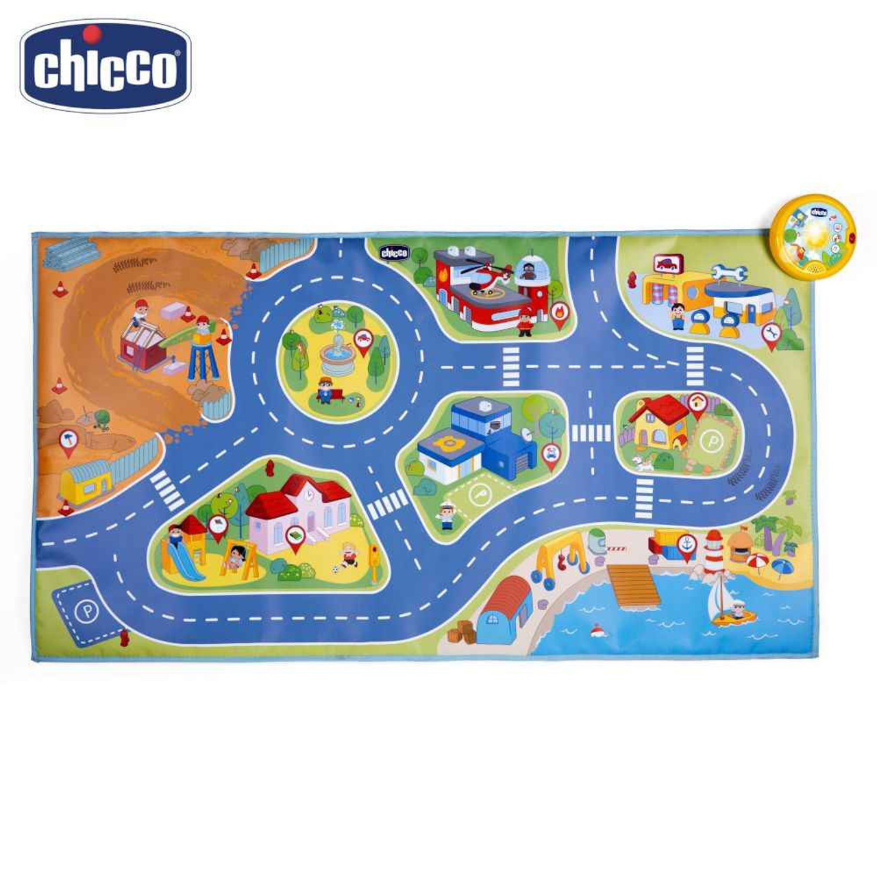 Chicco Electronic City Playmat 110 x 60 cm at Baby Barn Discounts Chicco new large electronic playmat with printed road suitable for toddlers to roam their tiny vehicles along.
