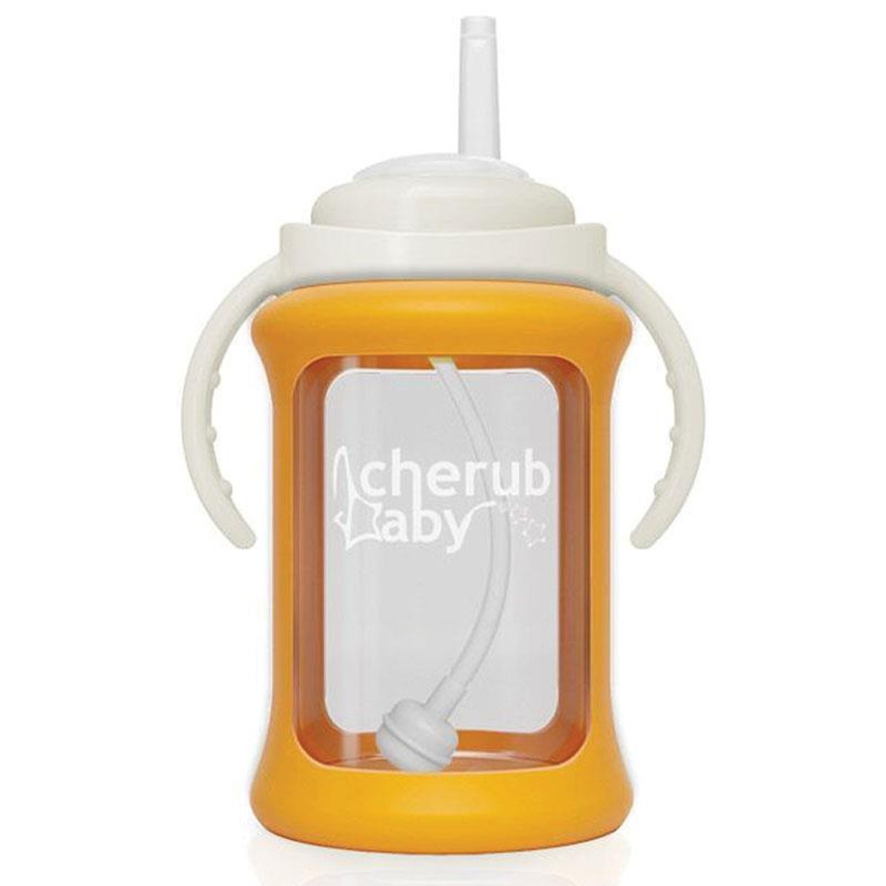 Cherub Baby Wide Neck Glass Straw Cup 240ml ORANGE at Baby Barn Discounts Cherub Baby wide-neck glass non spill straw cups now come with a patented silicone sleeve with built in shock absorbers that help to prevent breakage when dropped.