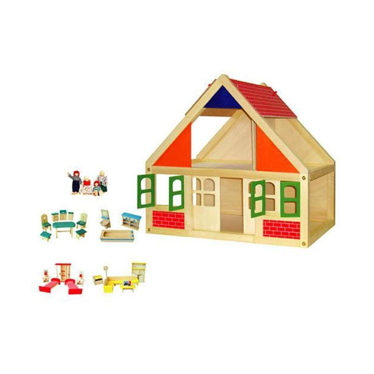 Viga Wooden Dolls House and Accessories at Baby Barn Discounts A charming classic dollhouse made of high quality wood, this little dolls house will be a treasure for years to come.