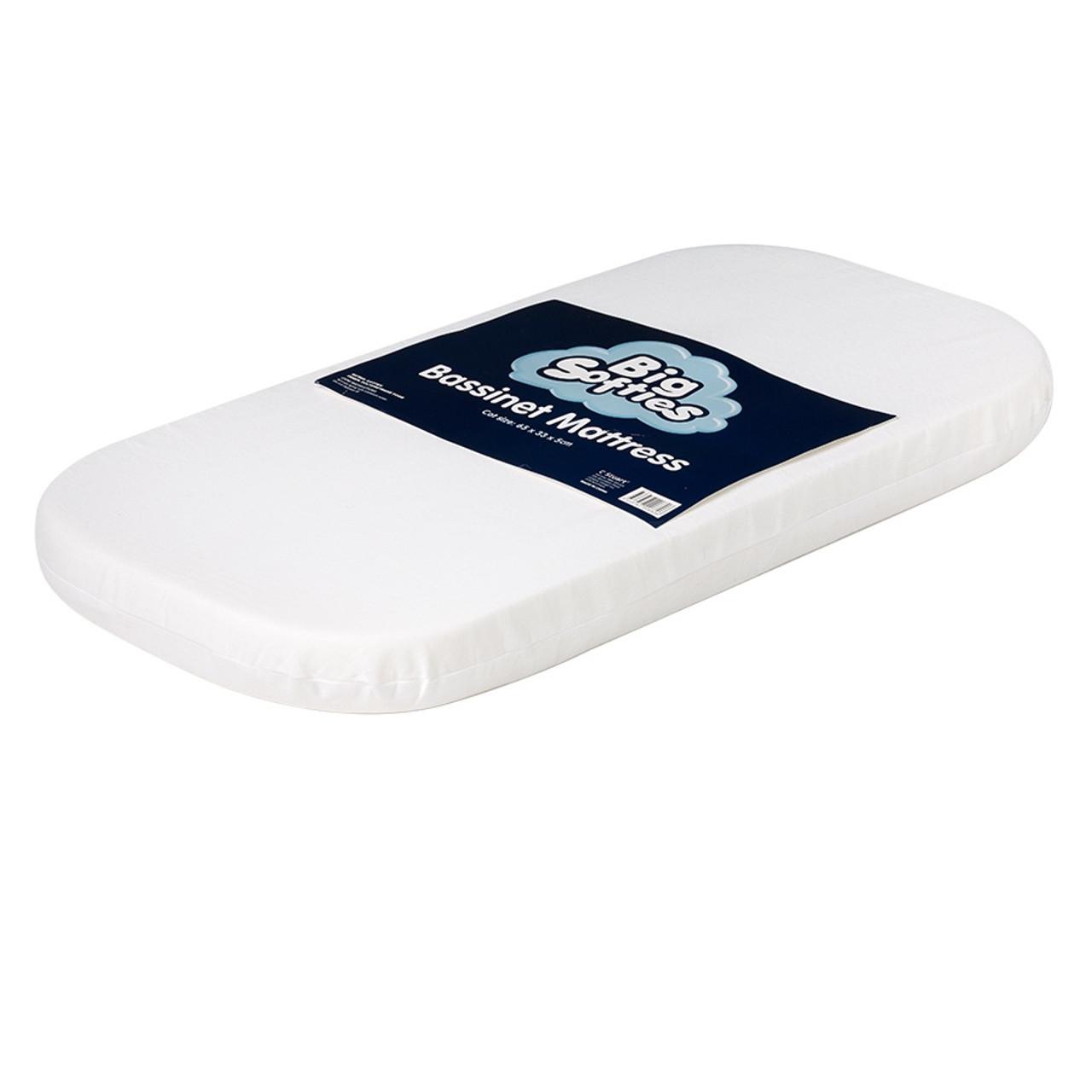 Big Softies Bassinet Mattress 65 x 33 cm at Baby Barn Discounts Big softies foam bassinet mattress in size 65 x 33 cm.