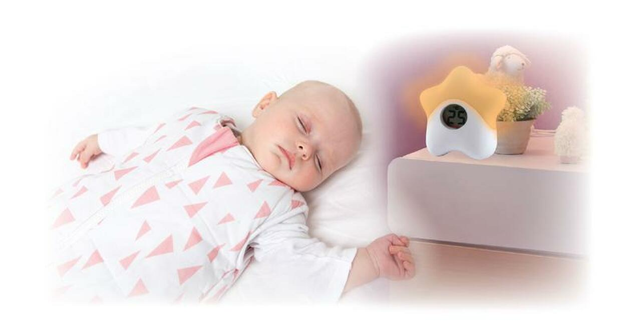 The Sleep Easy Star Nightlight & Room Thermometer at Baby Barn Discounts A beautiful addition to any nursery, this little night light gently lights baby's room with a colourful glow changing colour with the temperature of the room.