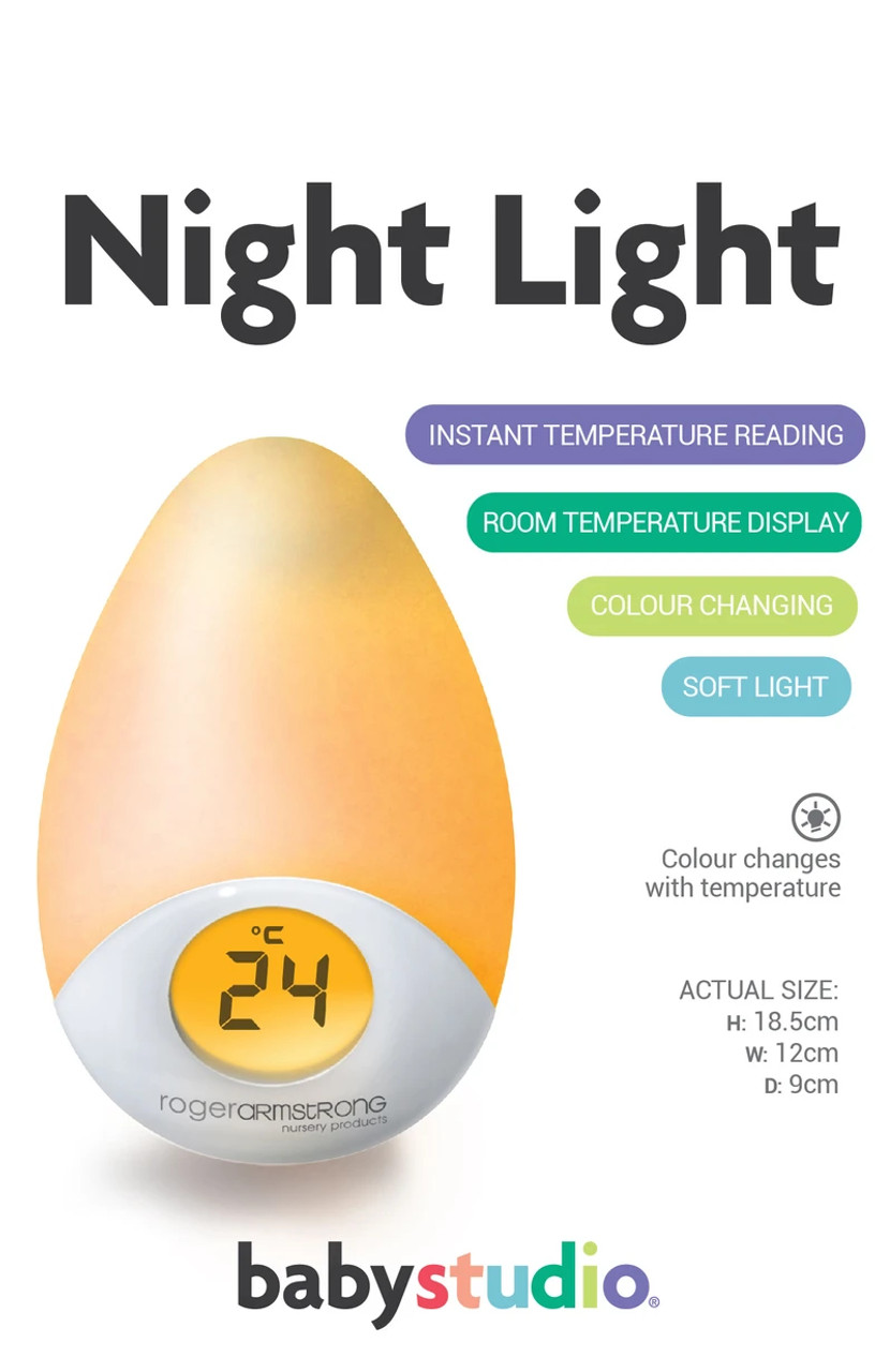 Babystudio Sleep Easy Tear Drop Nightlight & Room Thermometer at Baby Barn Discounts A beautiful addition to any nursery. This little night light gently lights baby's room with a colourful glow. Colour changes with the temperature of the room.