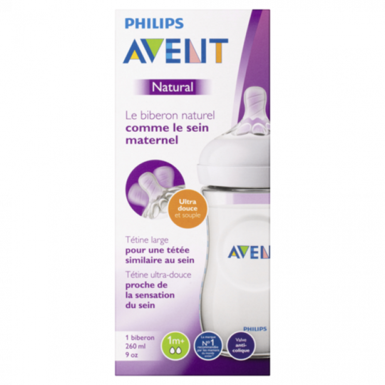 Avent Natural Bottle 1m+ 260ml at Baby Barn Discounts Avent natural feeding bottle has a wide breast-shaped teat for natural latch on.