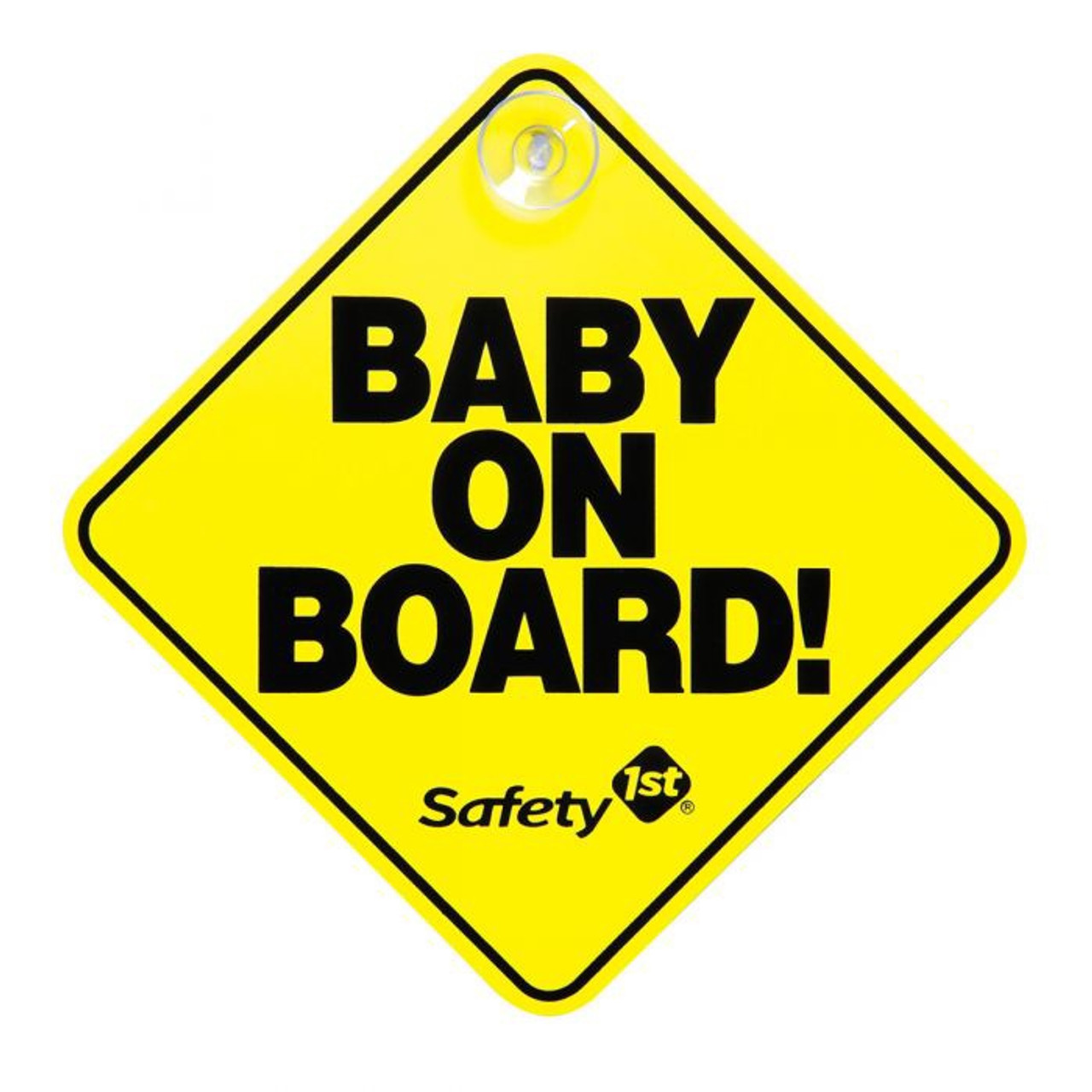 Safety 1st Baby On Board Sign at Baby Barn Discounts Safety 1st yellow bright Baby On Board sign, a visible vehicle signage on the road.