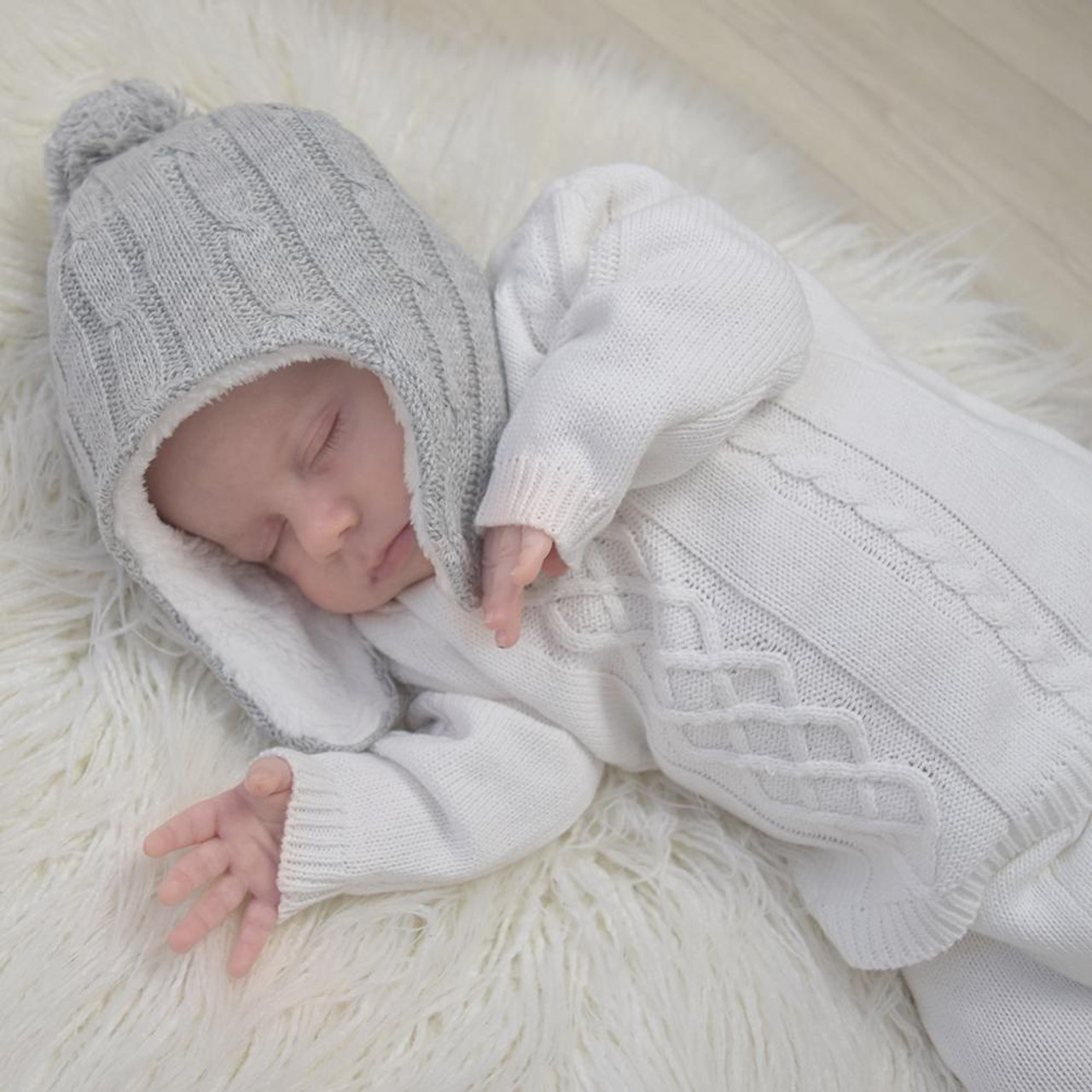 Living Textiles Cable Knit Sherpa Beanie 0-6 Months at Baby Barn Discounts