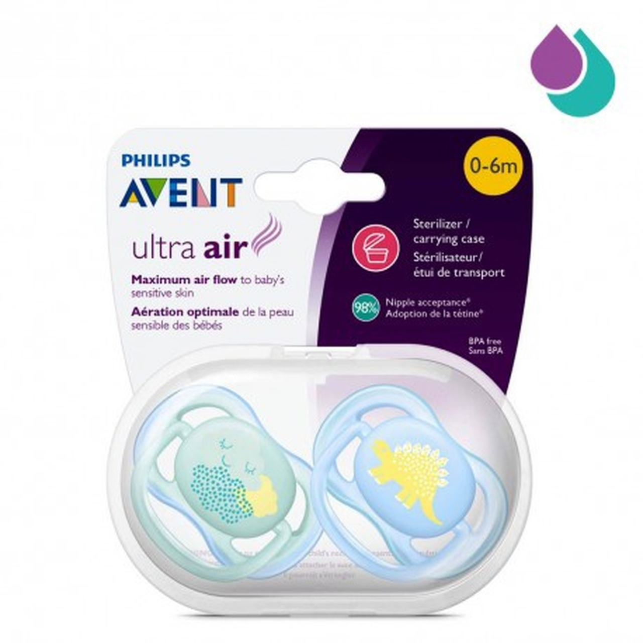 Avent Ultra Air Soother 0-6m 2pk | Baby Barn Discounts Design ensures natural development of palate, teeth and gums even if it ends up upside down in your baby's mouth.