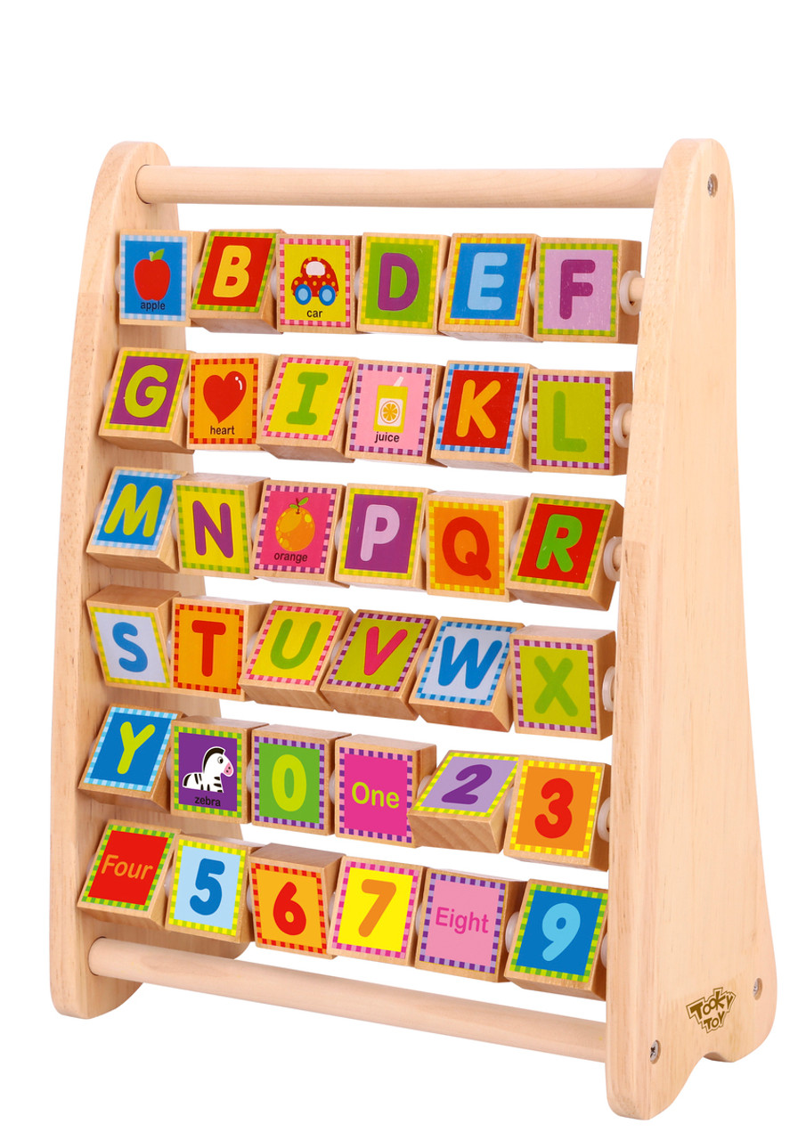 Tooky Toy Wooden Alphabet Abacus Natural at Baby Barn Discounts Tooky Toy wooden alphabet frame helps children with letter recognition.
