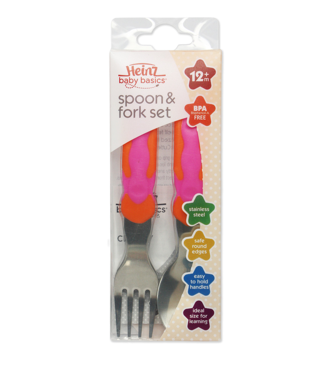 Heinz Baby Basics Spoon & Fork Set at Baby Barn Discounts Heinz specially sized high grade stainless steel cutlery has been designed to encourage independent feeding.