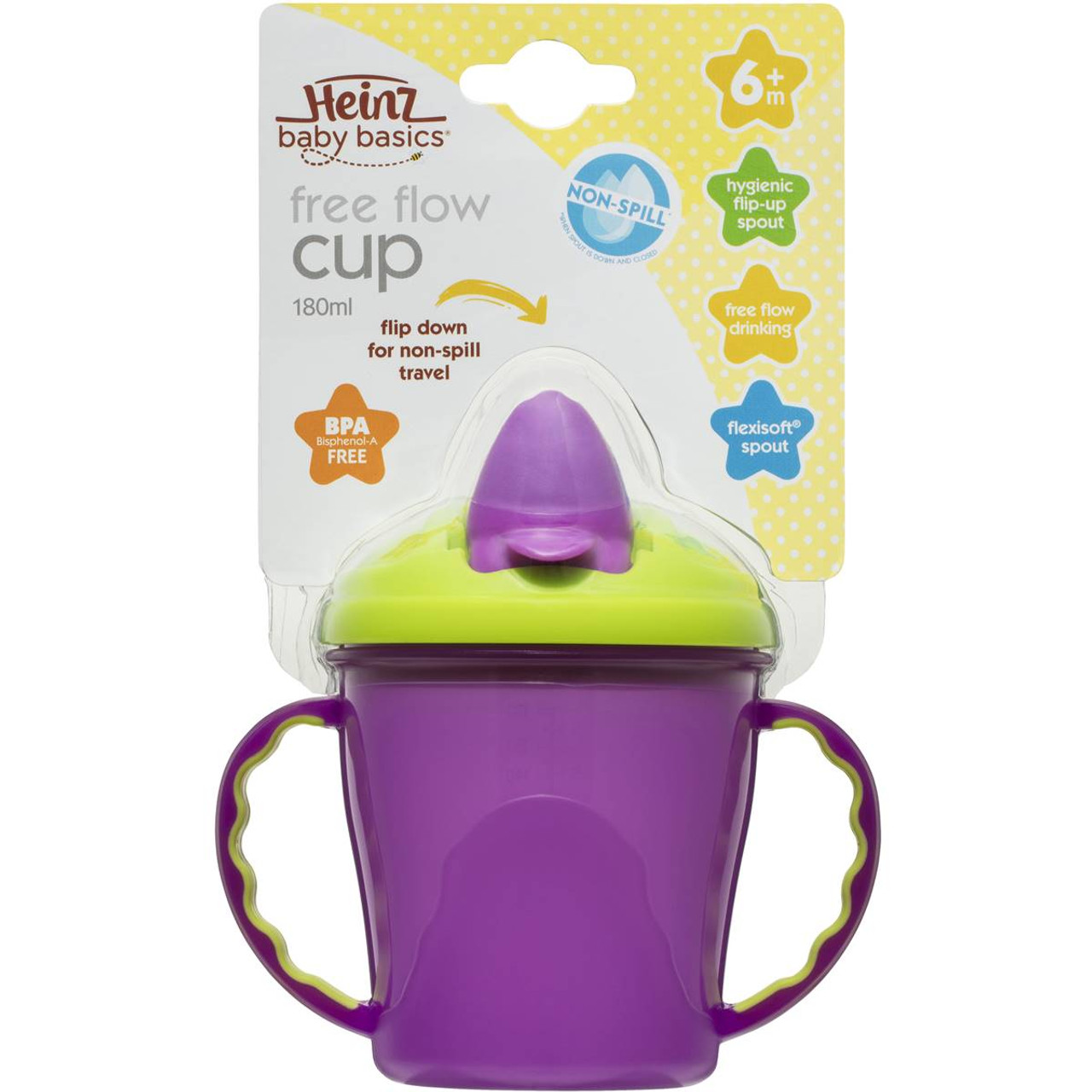 Heinz Baby Basics Trainer Cup with Handles at Baby Barn Discounts Heinz Baby Basics Trainer Cup with Handles is non-spill with hygienic spout cover.