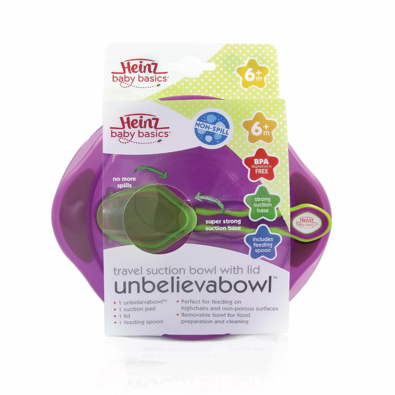 Heinz Baby Basics Unbelievabowl Suction Bowl at Baby Barn Discounts Heinz Baby Basics Unbelieveabowl has been designed to stick to your baby's highchair or your tabletop.
