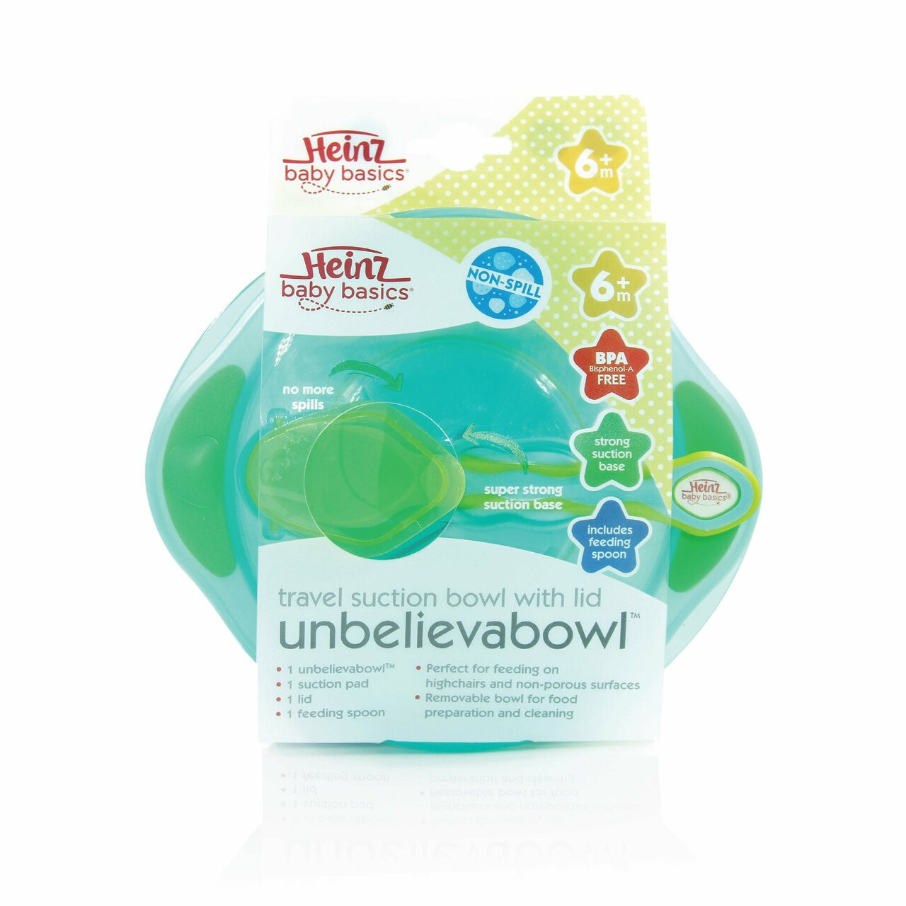 Heinz Baby Basics Unbelievabowl Suction Bowl at Baby Barn Discounts Heinz Baby Basics Unbelieveabowl has been designed to stick to your baby's highchair or you tabletop.