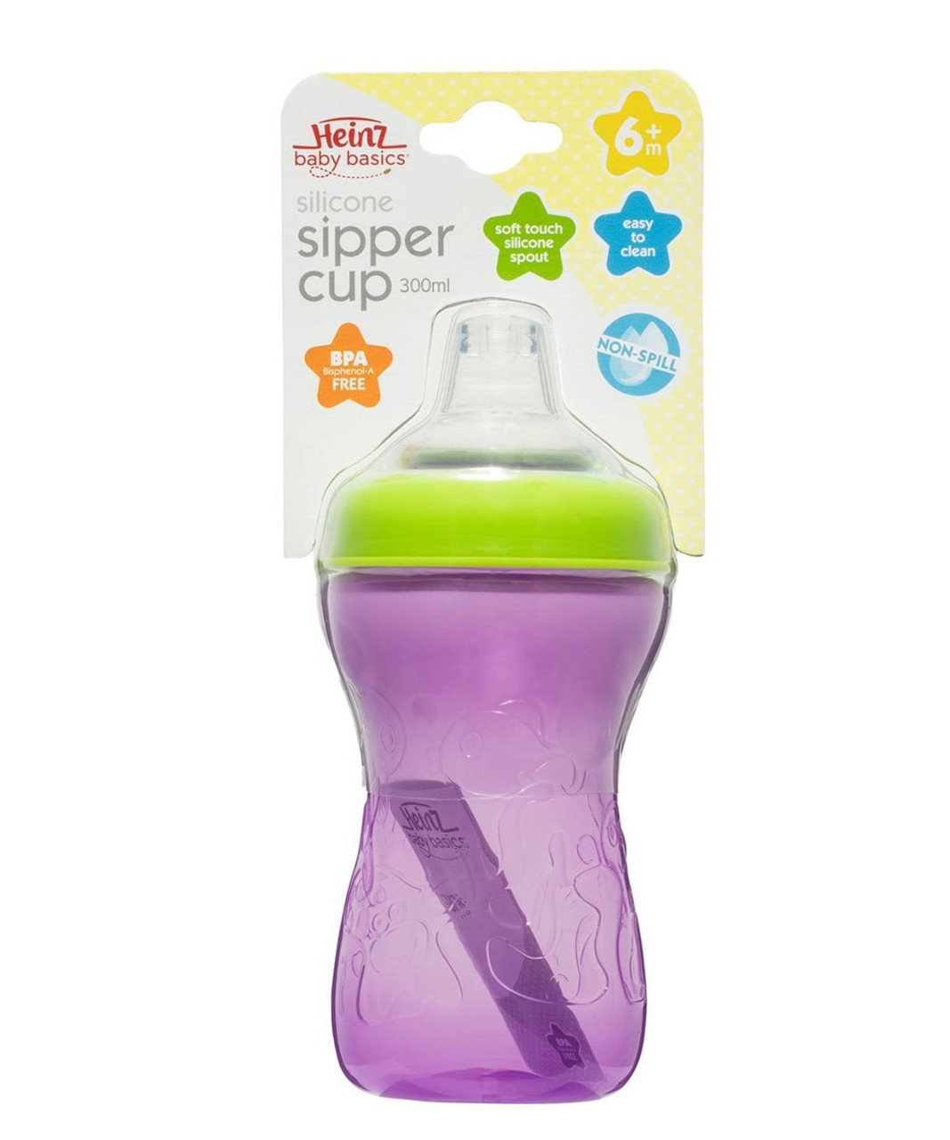 Heinz Silicone Sipper Toddler Cup 300ml at Baby Barn Discounts Heinz 300ml silicone non-spill sipper cup has soft touch silicone spout and is easy to clean.