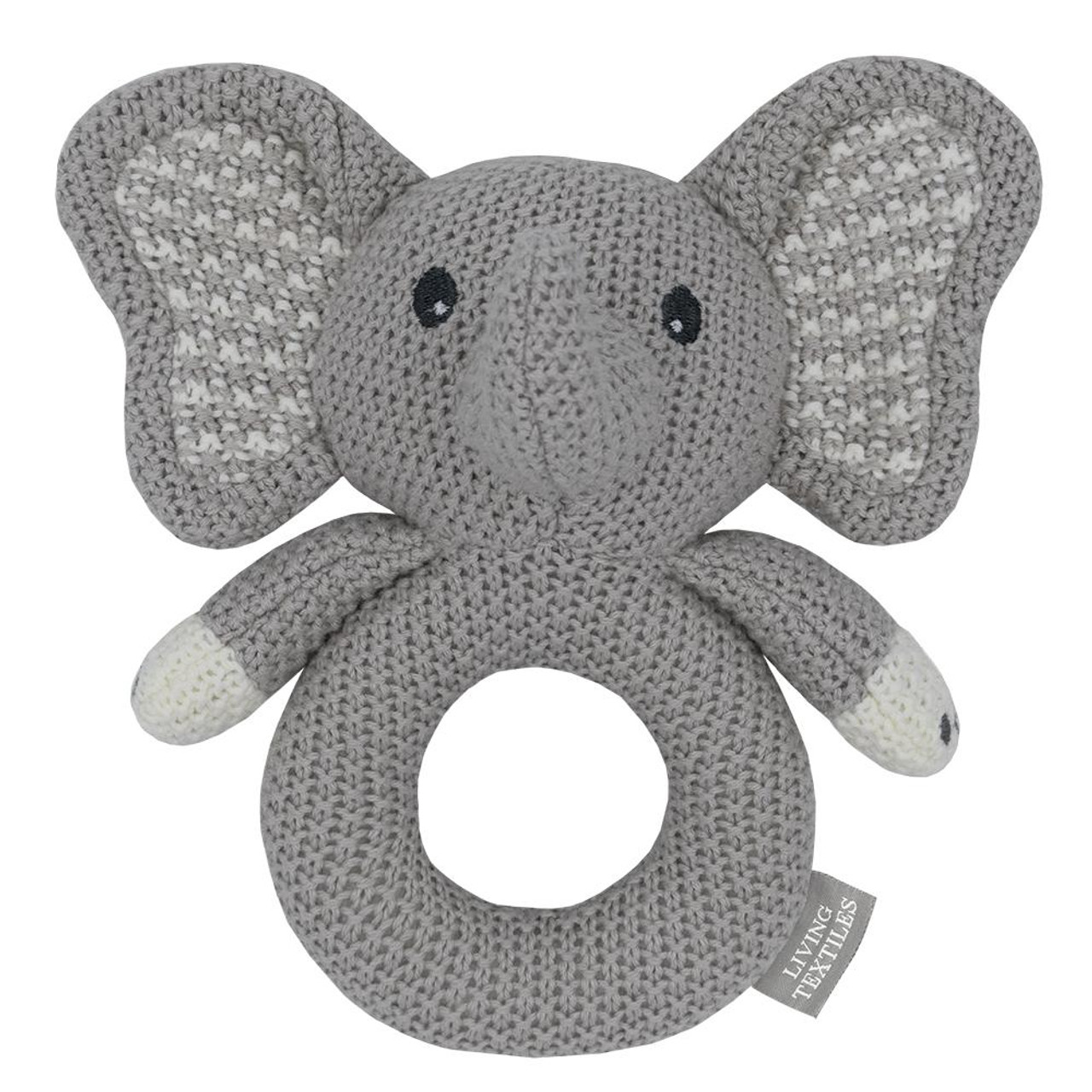 Living Textiles Knitted Ring Rattle at Baby Barn Discounts Perfect for little hands, this rattle will entertain for hours. With soft cotton, knitted in a traditional purl stitch this little rattle is a fantastic baby gift.