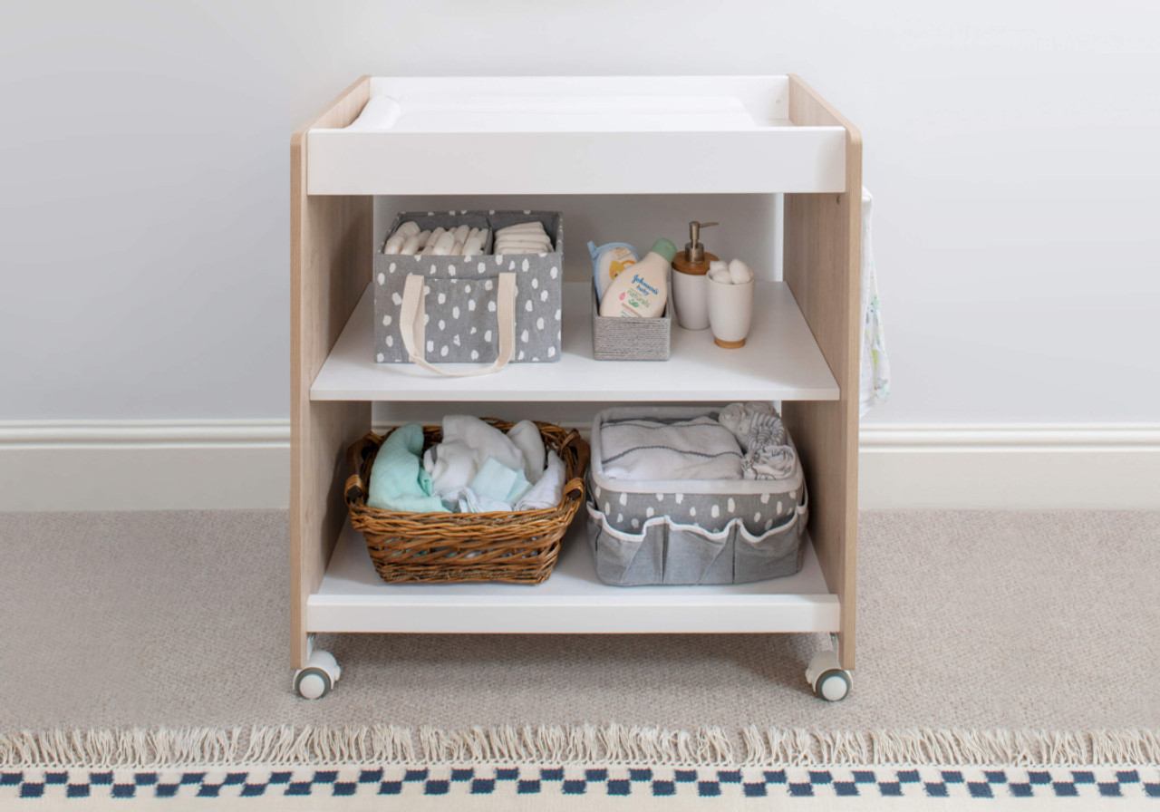 Boori Neat 3 Tier Changer at Baby Barn Discounts Featuring a modern, muted two-tone oak-effect design, the Neat 3 Tier Changer is designed to complement the Natty Cot Bed.