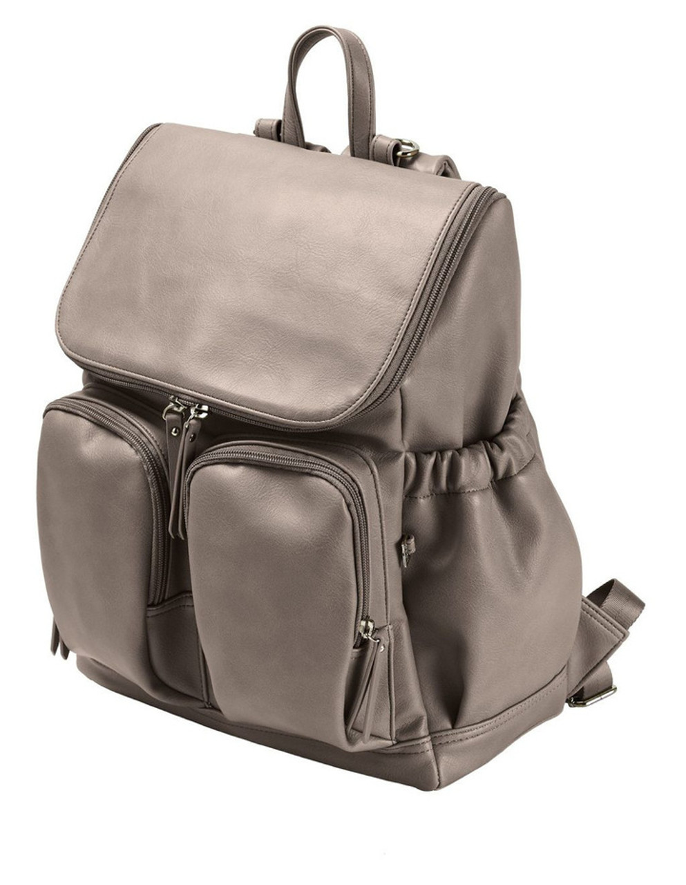 OiOi Faux Leather Nappy Backpack TAUPE at Baby Barn Discounts Oioi stunning nappy bag has loads of handy pockets designed to carry all of those baby necessities and includes a cushioned changing mat, insulated bag for babys bottle and a zip top purse for any soiled items.