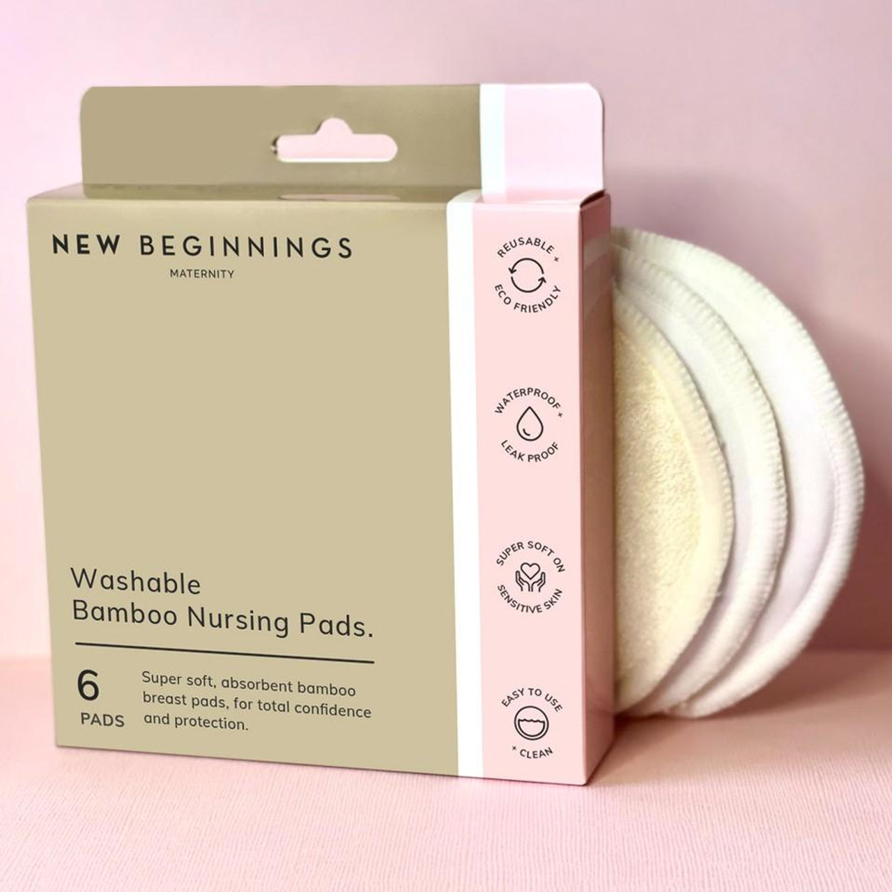 New Beginnings Washable Bamboo Nursing Pad 6pcs at Baby Barn Discounts New Beginnings bamboo nursing pads is an eco-friendly option for feeling confident and dry all day.