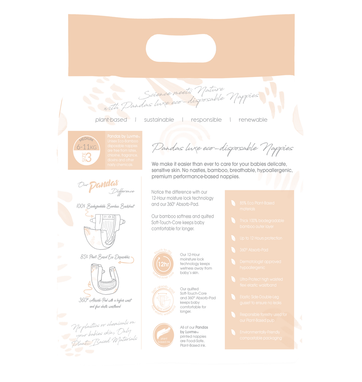 Pandas by Luvme Eco Disposable Nappies at Baby Barn Discounts Pandas are a plant based, biodegradable, compostable, ethical choice in nappies. A choice you will feel good about making for your bub and  for the planet.