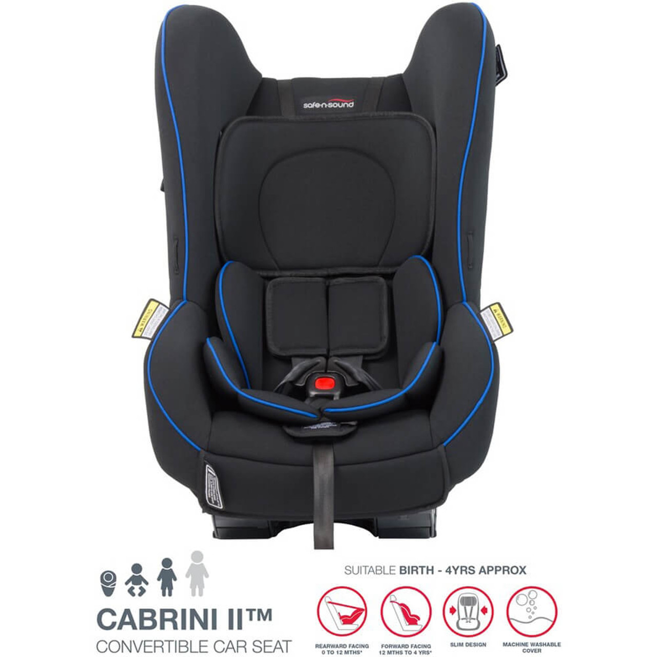 Safe N Sound Cabrini II Convertible Carseat at Baby Barn Discounts Safe N Sound Cabrini II convertible car seat provides your baby comfort in a simple seat that is easy to install and use