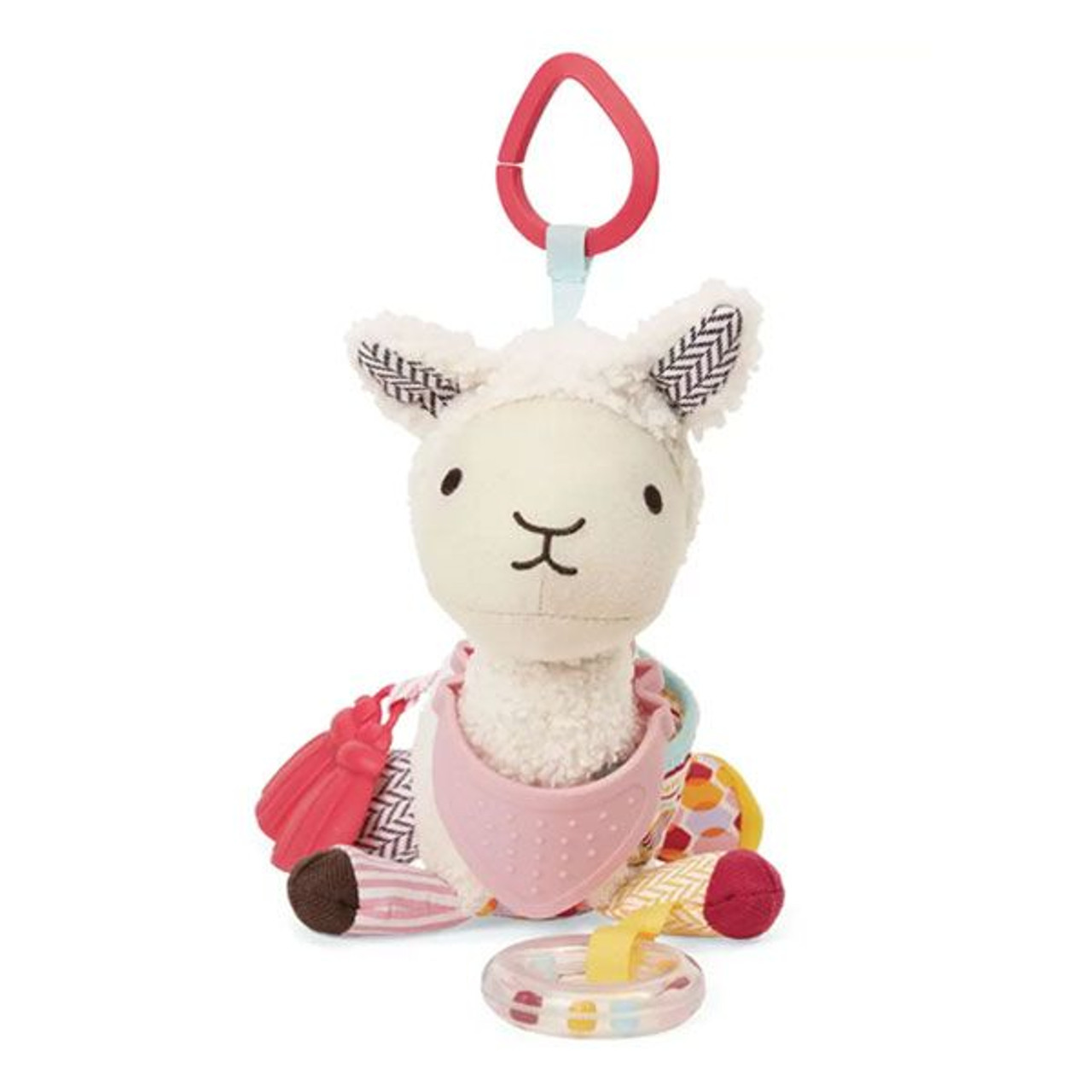 Skip Hop Bandana Buddies Acitivity Llama at Baby Barn Discounts Perfect for multi-sensory play, this soft toy and teether in one features rattles, crinkle sounds and more for baby to explore.