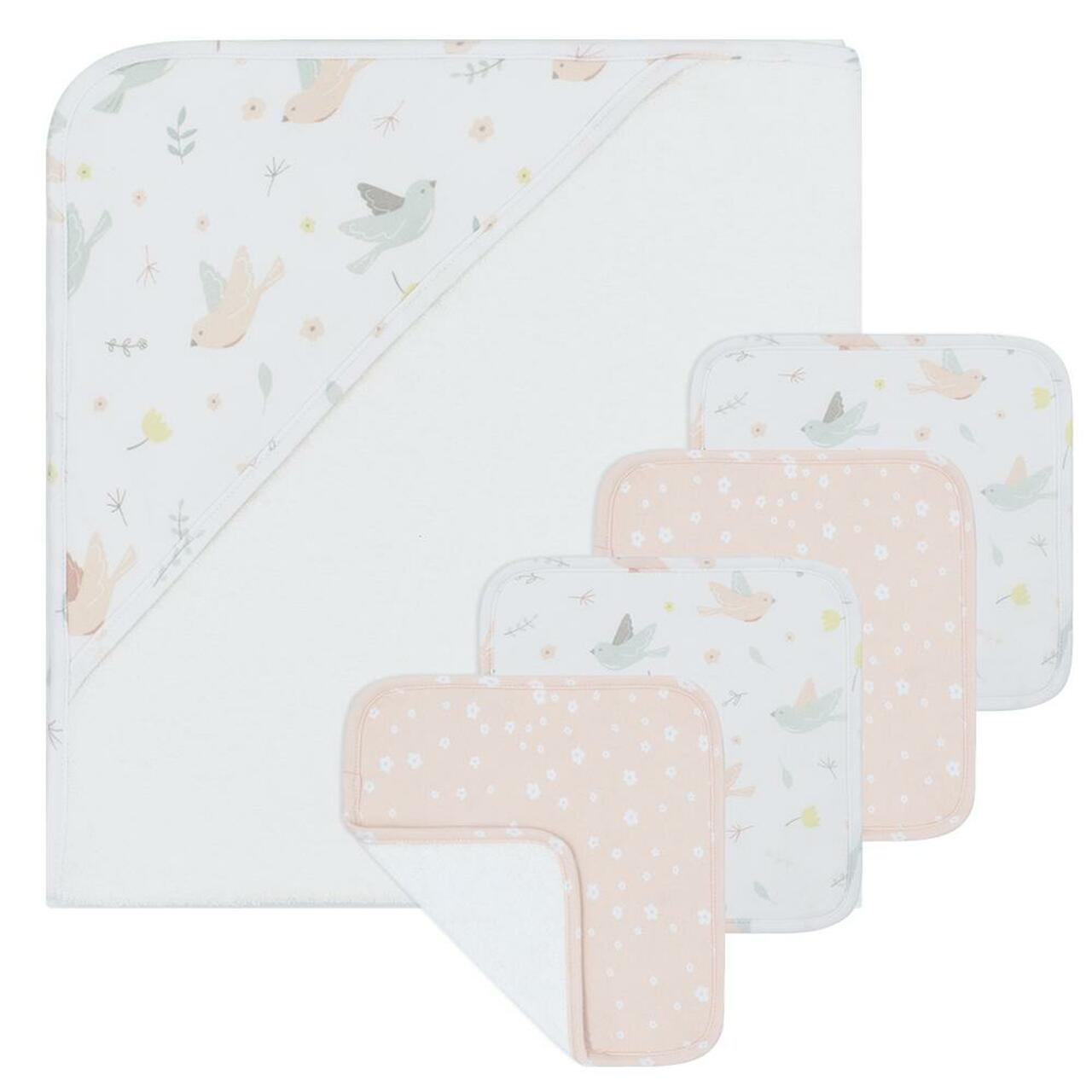 Living Textiles 5pc Bath Gift Set at Baby Barn Discounts Living Textiles essential bath gift set including hooded towel and wash cloths.