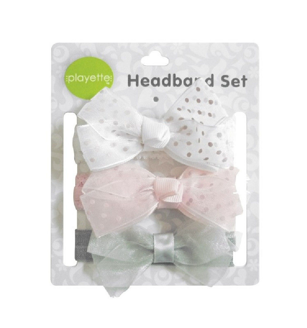 Playette Chiffon Headband 3pk at Baby Barn Discounts This set of three lovely headbands by Playette is sure to add a cute touch to any outfit. Made with lightweight chiffon.