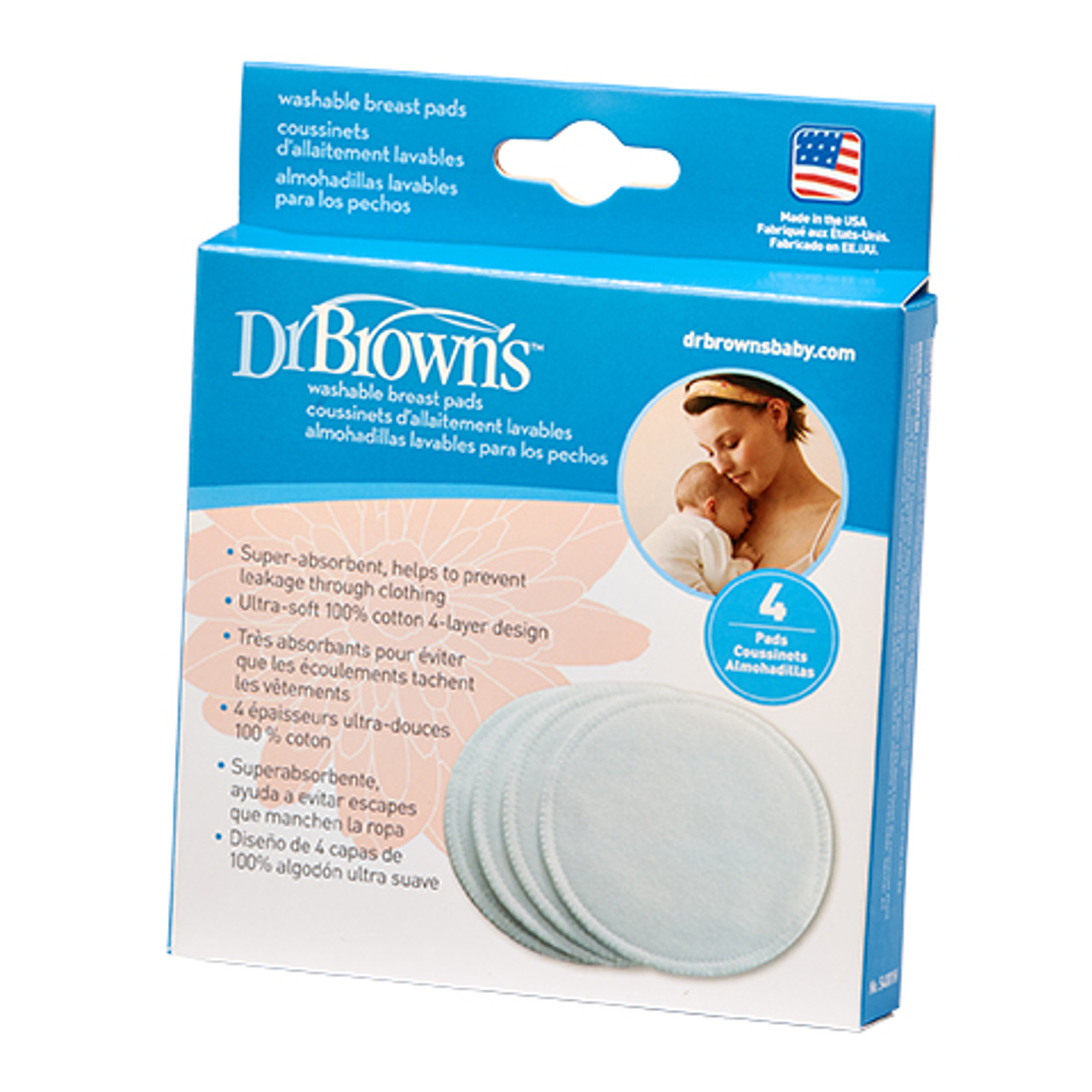 Dr Brown's Washable Breast Pads at Baby Barn Discounts Dr Brown's ultra-absorbent, 100% cotton breast pads provide 4 layers of comfortable confidence by preventing leakage through clothing during breastfeeding stages.