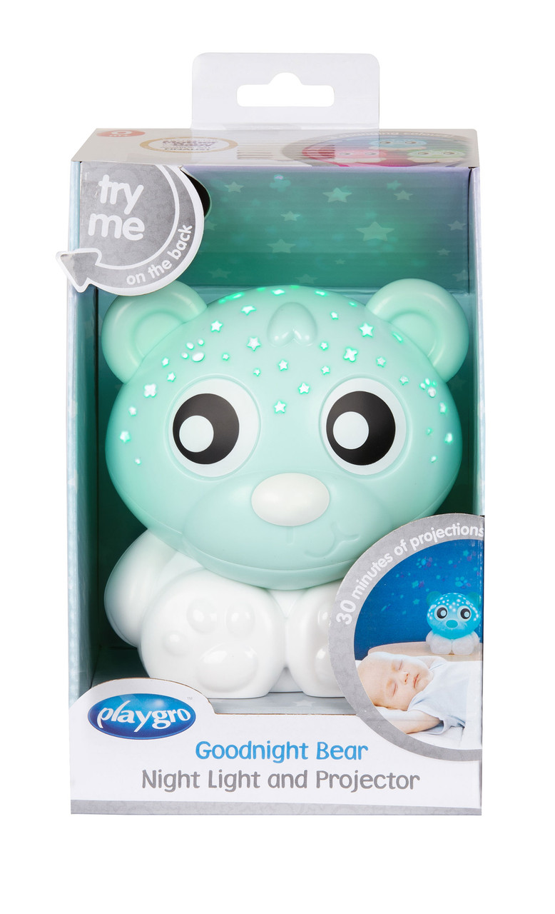 Playgro Goodnight Bear Night Light at Baby Barn Discounts A gorgeous addition to any nursery or night time routine. The two in one design allows you to Project calming night sky shapes or use as a comforting night light.