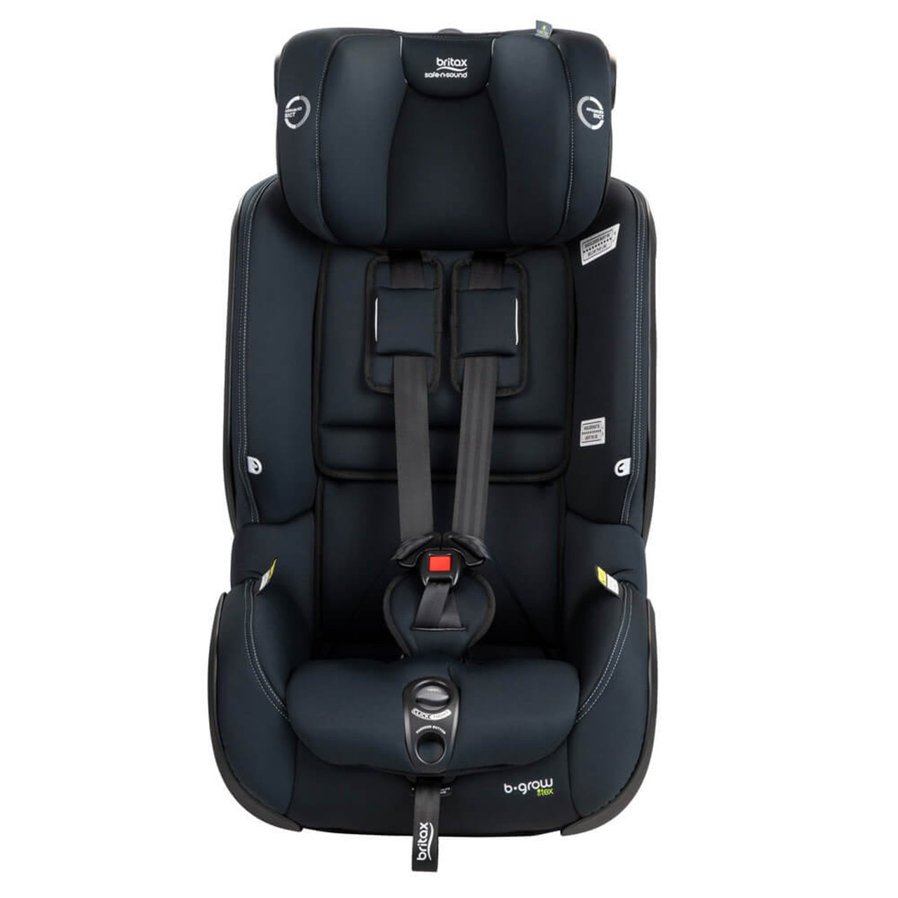 b grow tex car seat has a four position harness system