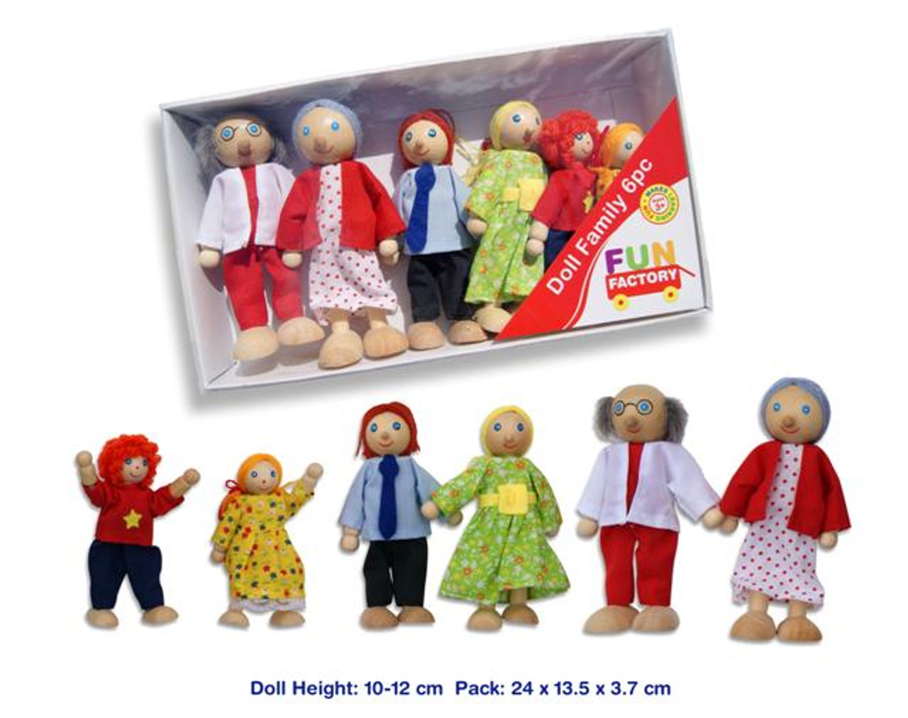 Fun Factory Wooden Doll Family 6pc Set at Baby Barn Discounts A fun budget friendly wooden family doll set from Fun Factory.